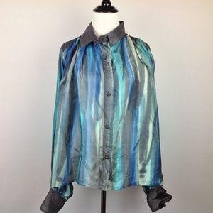 Diana Top Women 14 Silk Button Oversize